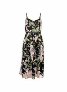 Womens **Luxe Black Floral Print Prom Midi Dress- Black, Black