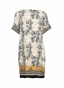 Womens Multi Colour Snake Print Shift Dress- Multi Colour, Multi Colour