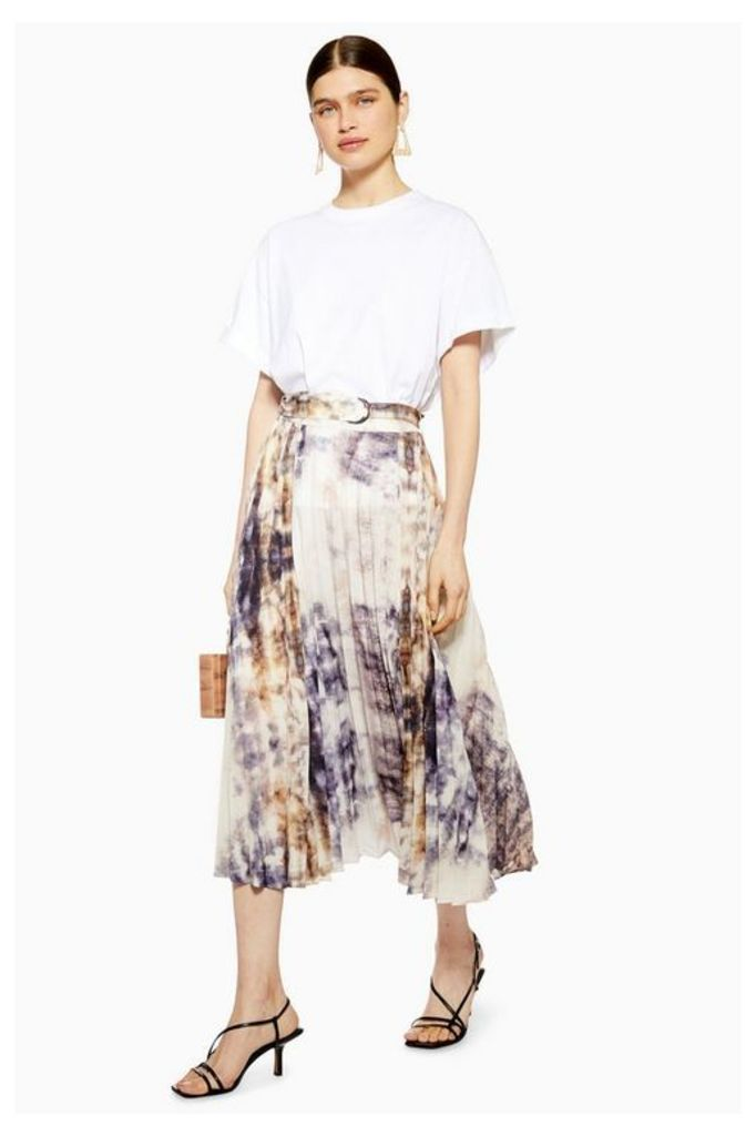 Womens Tie Dye Pleat Midi Skirt - Grey, Grey