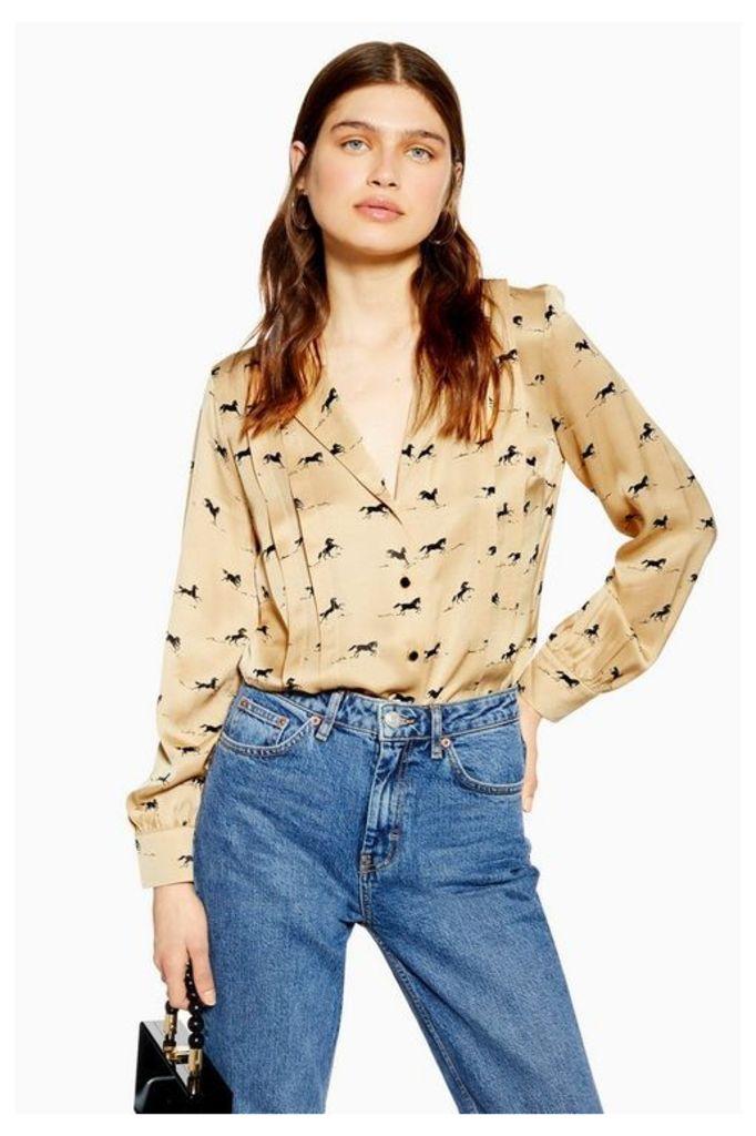 Womens Horse Print Shirt - Buttermilk, Buttermilk