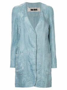 Uma Wang floral pattern long jacket - Blue