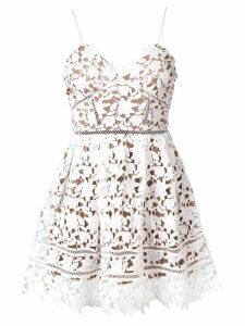Self-Portrait floral lace mini dress - White