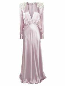 Alessandra Rich embellished plunge neck gown - Purple