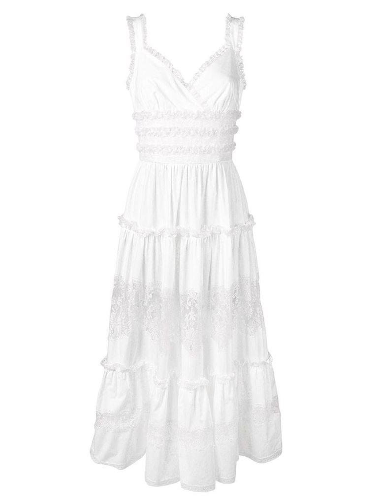 Dolce & Gabbana long ruffled dress - White