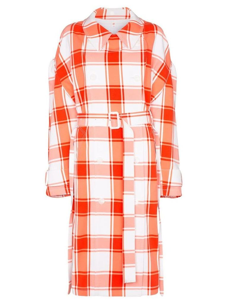 pushBUTTON check-print puff-sleeve trench coat - Red