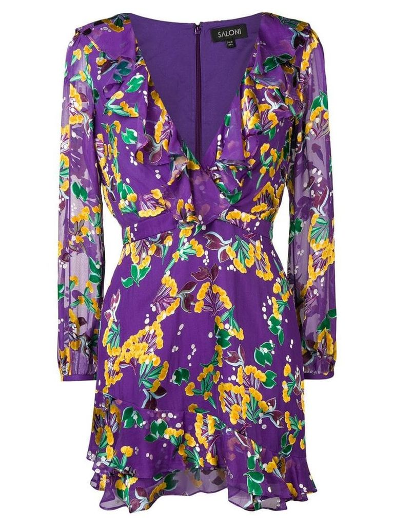 Saloni floral print ruffle dress - Purple