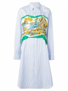 Junya Watanabe printed bustier striped shirt dress - Blue