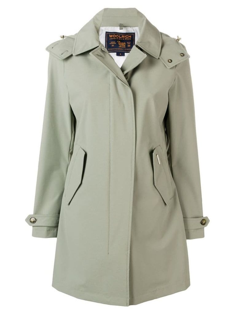 Woolrich hooded midi coat - Green