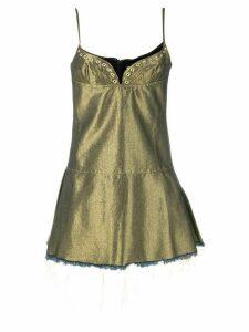 Marques'Almeida eyelet detail mini dress - GOLD