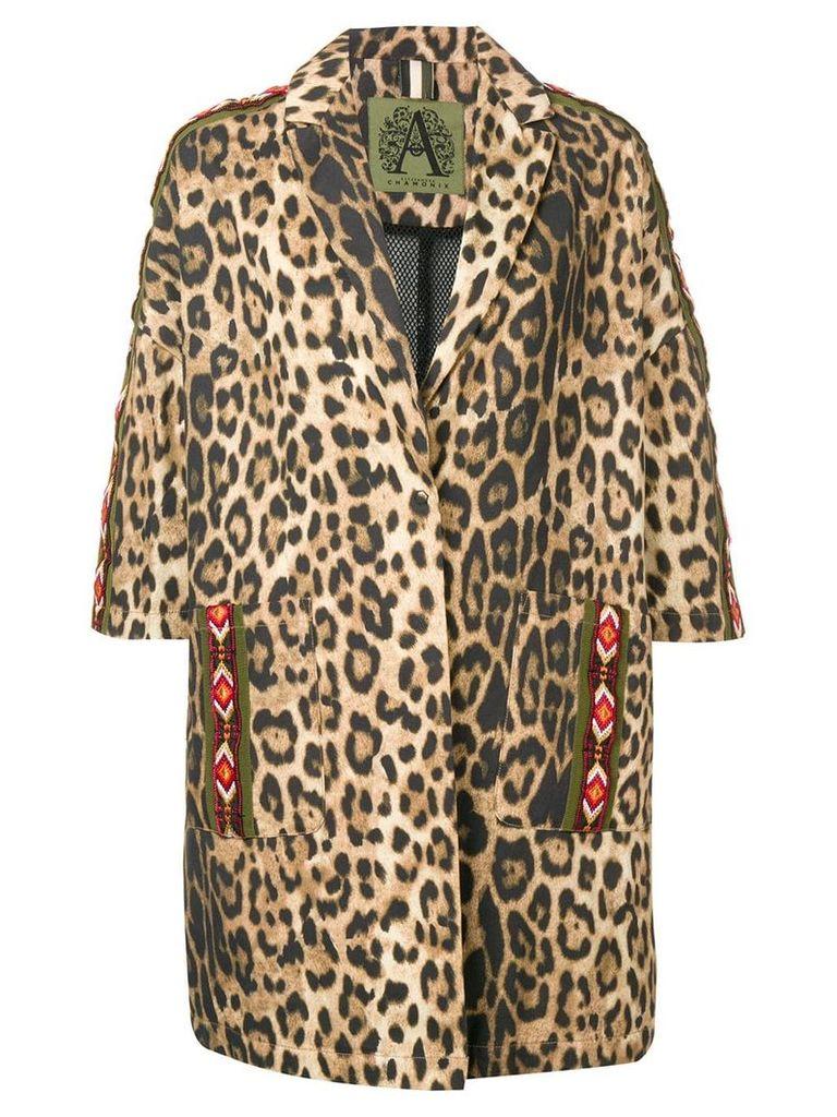 Alessandra Chamonix leopard print cropped sleeve coat - Brown