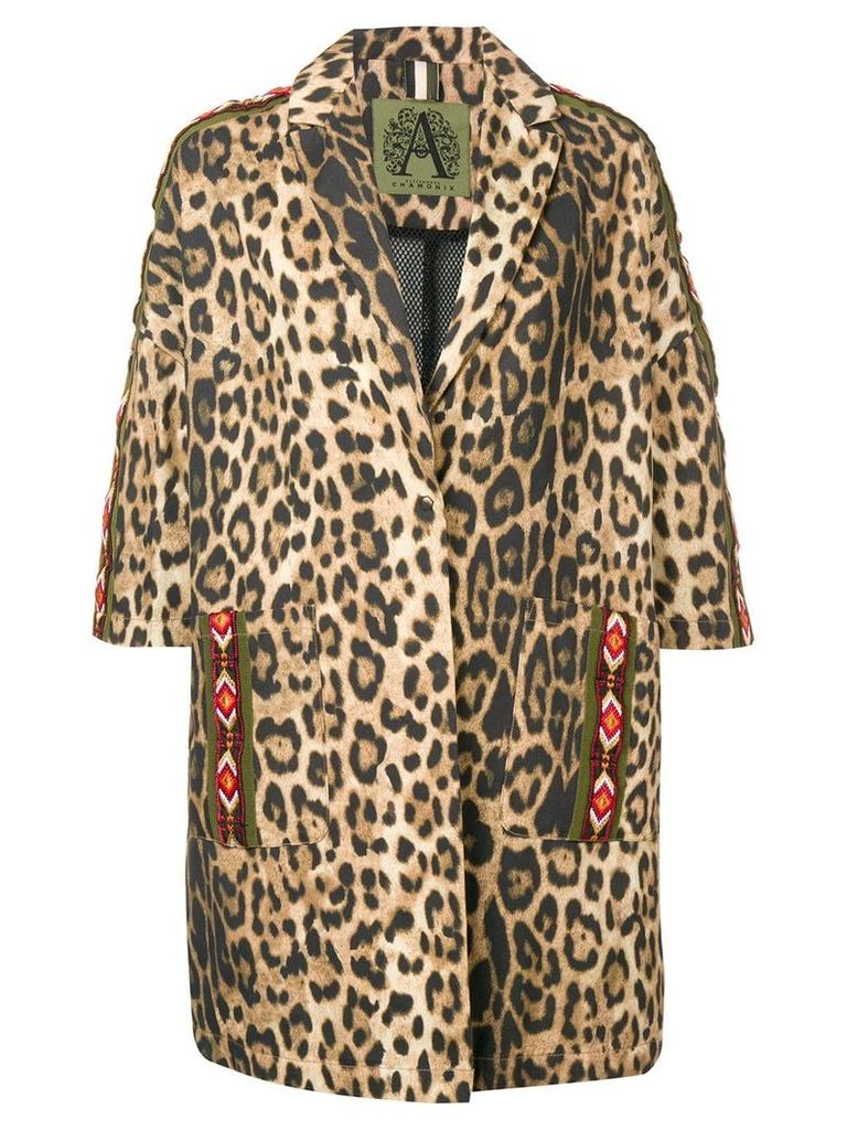 Alessandra Chamonix leopard print cropped sleeve coat - Brown