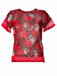 Comme Des Garçons rose print T-shirt - Red