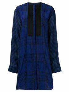 Haider Ackermann loose fit check mini dress - Blue