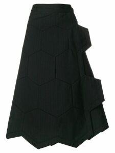 Comme Des Garçons honeycomb pinstripe A-line skirt - Black