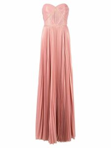Marchesa Notte long pleated dress - Pink