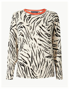 M&S Collection Linen Blend Animal Print Batwing Jumper