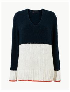 M&S Collection Cotton Rich Colour Block V-Neck Jumper