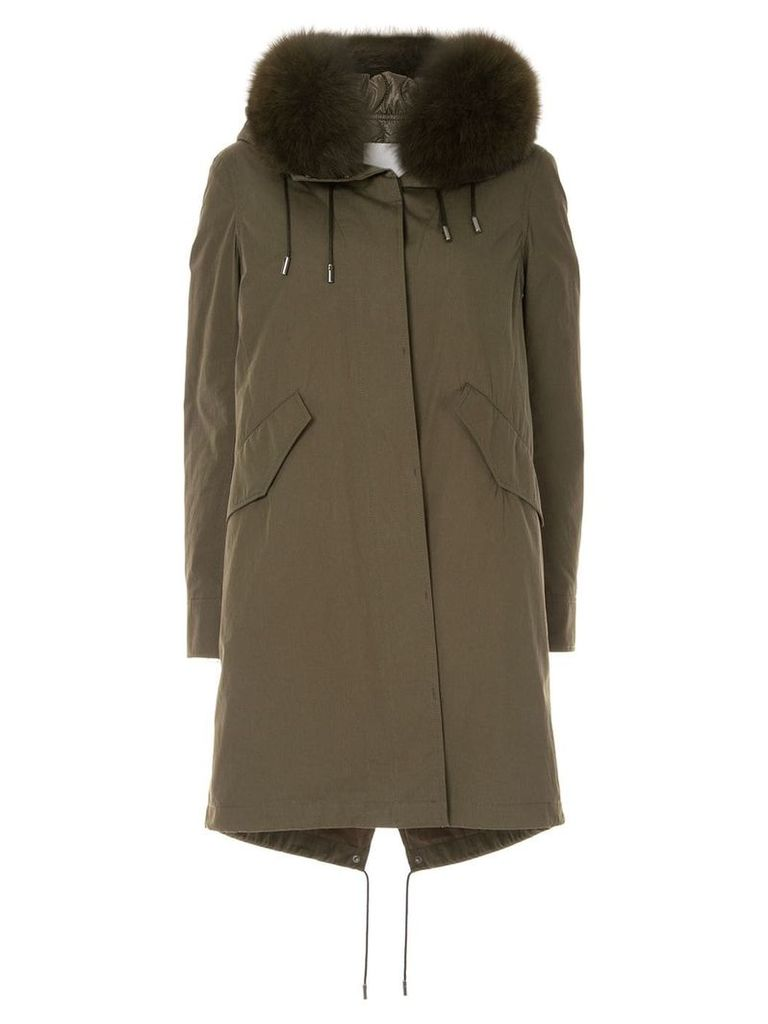 Yves Salomon Army Bachette fox fur trimmed hood parka - Green