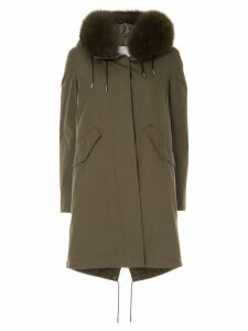 Yves Salomon Army Bachette fox fur trimmed hood parka - Green