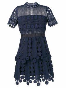 Self-Portrait crochet detail mini dress - Blue