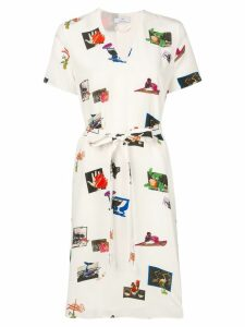 PS Paul Smith graphic print shirt dress - White