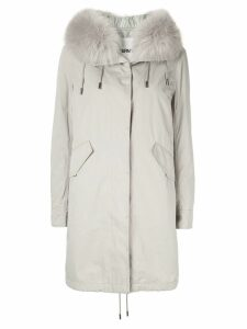 Yves Salomon Army Bachette fox fur trimmed hood parka - Grey
