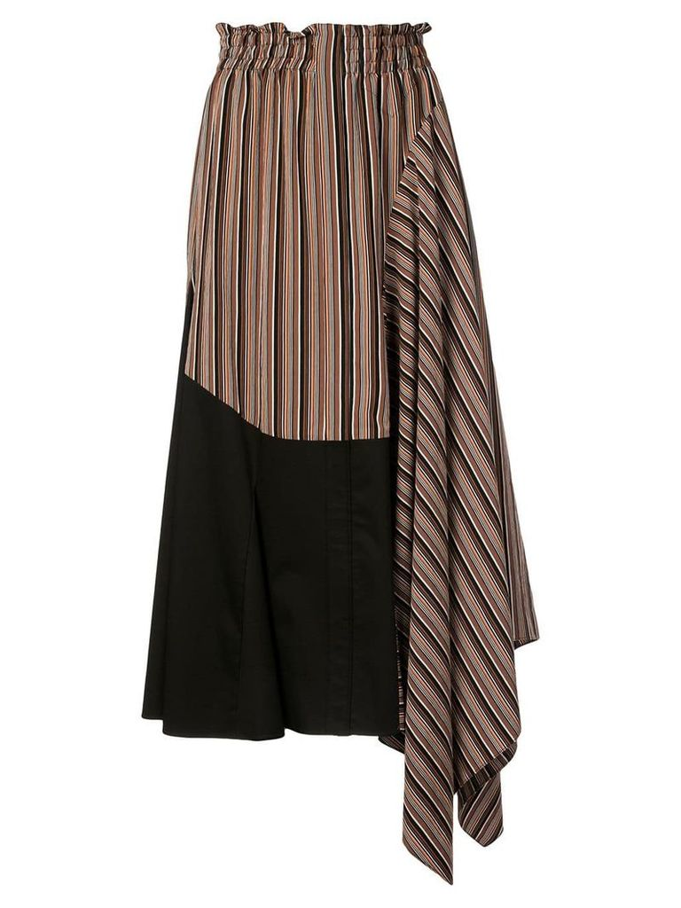 Tome asymmetric flared skirt - Brown