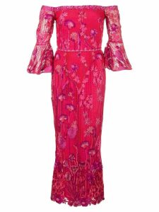 Marchesa Notte floral midi dress - Red