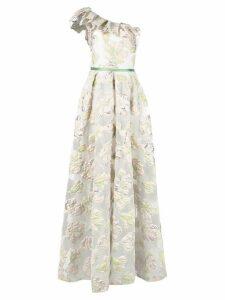Marchesa Notte floral one-shoulder dress - Neutrals