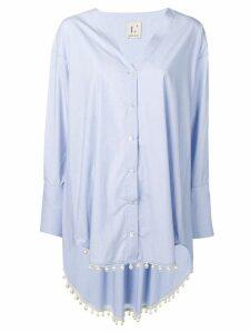 L'Autre Chose pearl embellished shirt - Blue