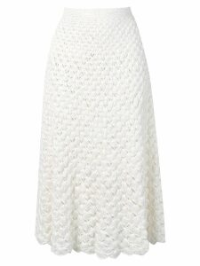 L'Autre Chose tasselled crochet midi skirt - White