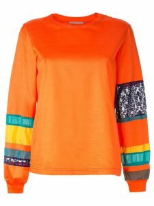 Kolor striped sleeve sweatshirt - Orange