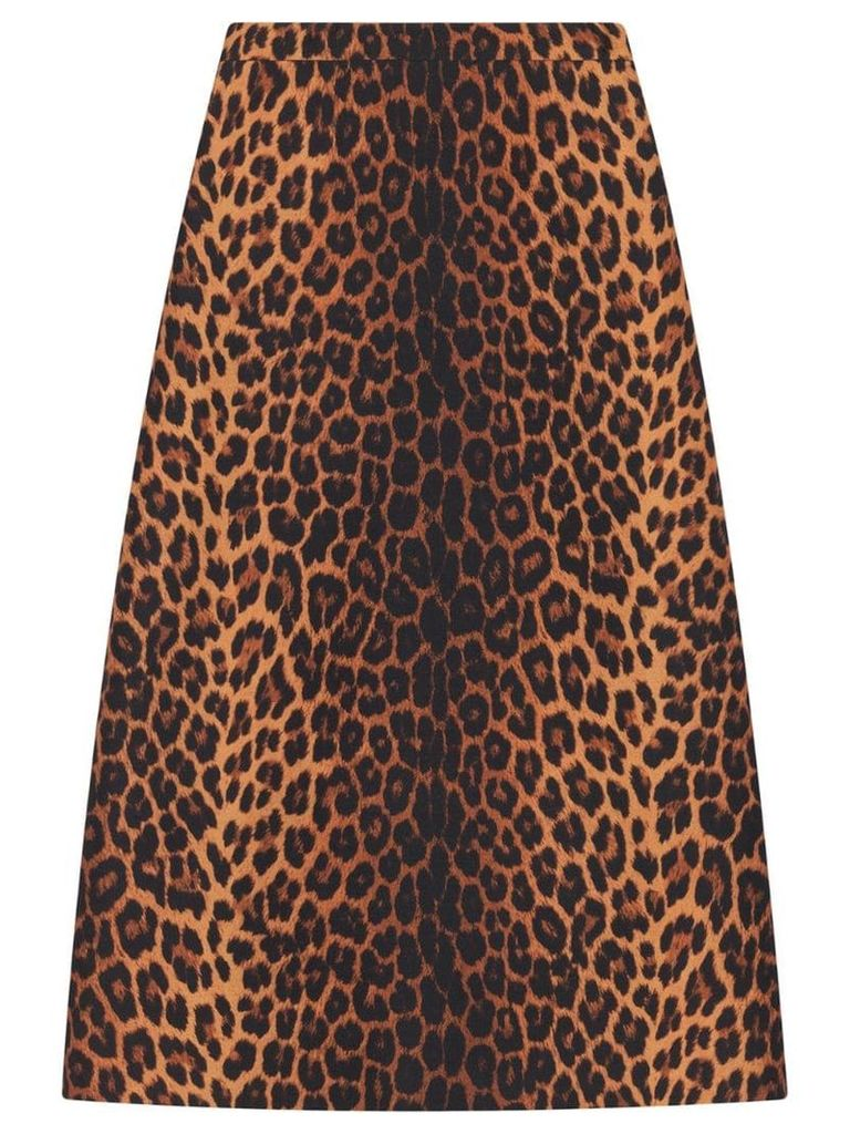 Gucci Leopard print wool pencil skirt - Brown