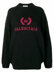 Balenciaga logo embroidered jumper - Black