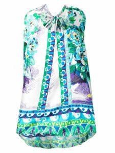 Prada asymmetric hem bow-back dress - Blue