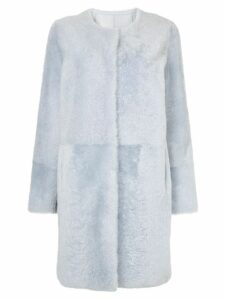 Yves Salomon collarless coat - Blue