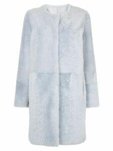 Yves Salomon collarless coat - Blue