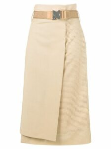 Fendi high waisted asymmetric skirt - Neutrals