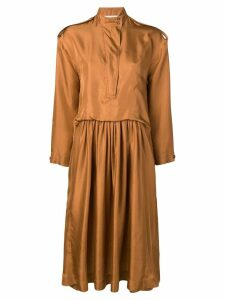 Cédric Charlier high neck midi dress - Brown