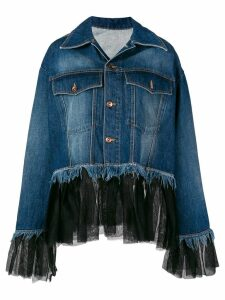 House of Holland tulle-panelled denim shirt - Blue