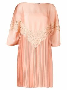 Alberta Ferretti embroidered plisse dress - Pink