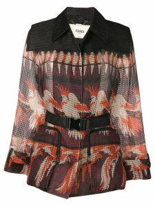 Fendi belted textured blazer - Black