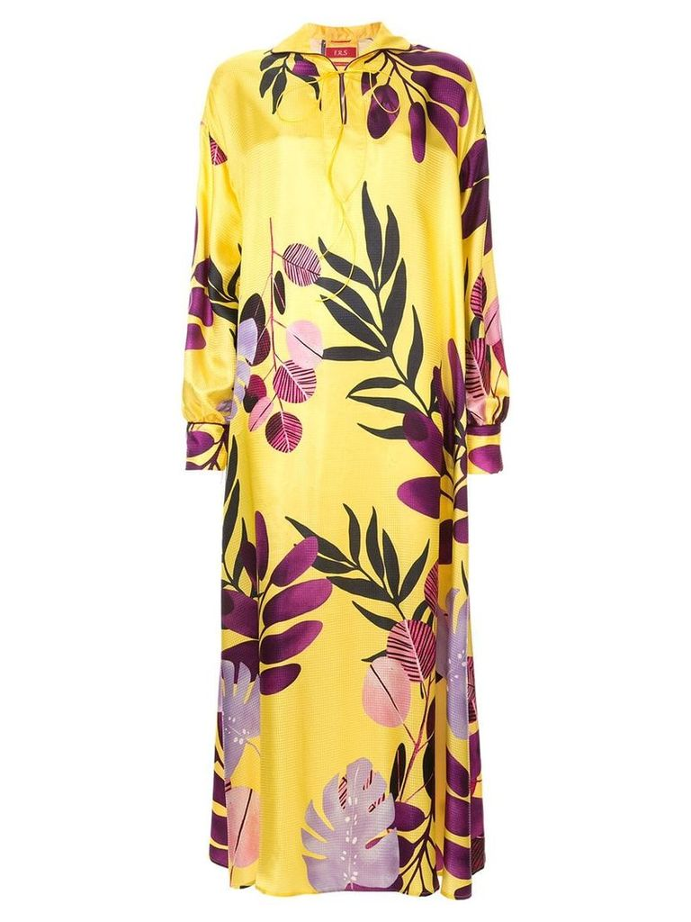 F.R.S For Restless Sleepers floral satin shirt dress - Yellow