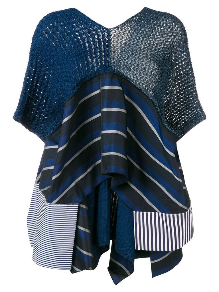 Antonio Marras V-neck striped top - Blue