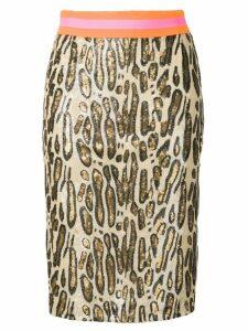Bazar Deluxe sequin leopard print skirt - Neutrals