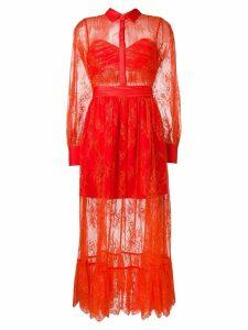 Self-Portrait sheer lace ruffled dress - Red
