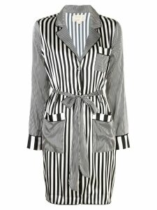 Nicole Miller Pajama stripe long coat - Black