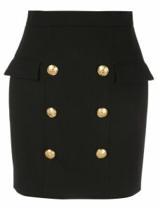 Balmain button front fitted skirt - Black