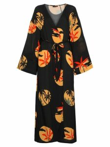 Onia Meika palm print belted maxi dress - Black