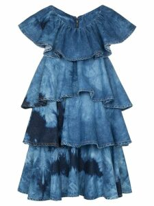 MSGM tie-dye tiered denim mini dress - Blue